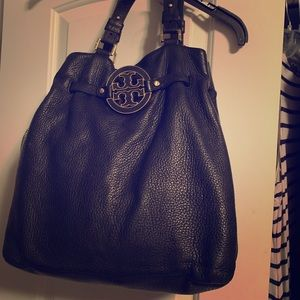Large Tory Burch Black Leather Miller Hobo Purse